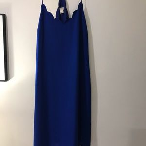 J.crew blue scalloped racerback camisole dress